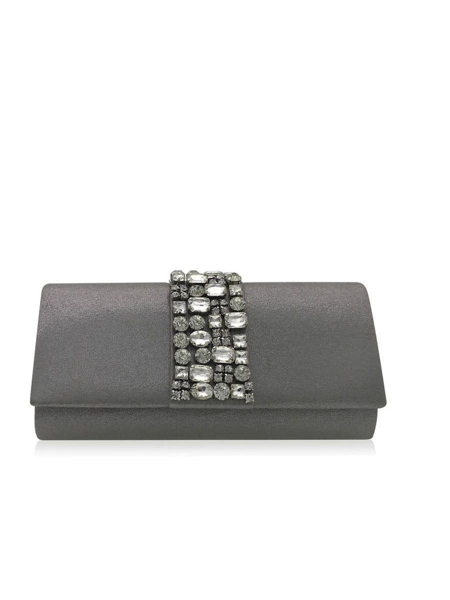THE SILVERSTEIN  CO.  / ADRIANA PAPELL - Bejeweled Satin Roll Clutch