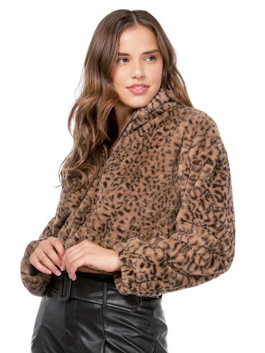 The Timing Inc - Zip Up Faux Fur Leopard Pullover Sweat