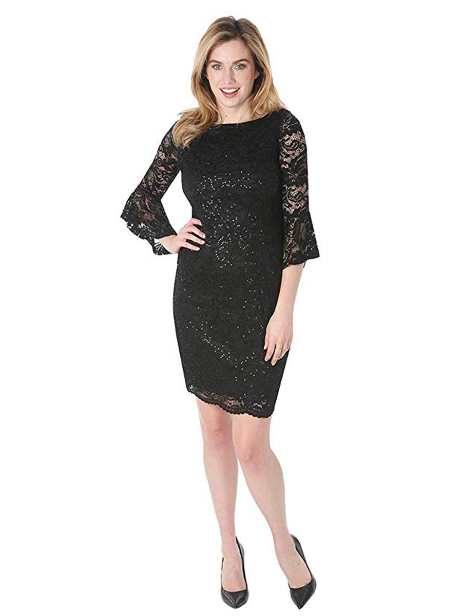TIANA B - Lace Metallic Dress Long Sleeve