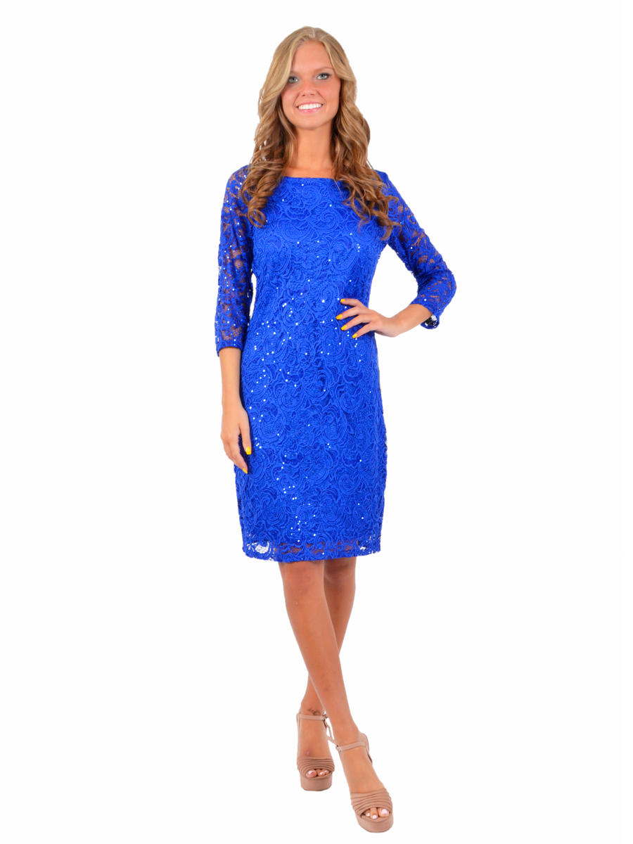 TIANA B - Half Sleeve Metallic Lace Cocktail Dress