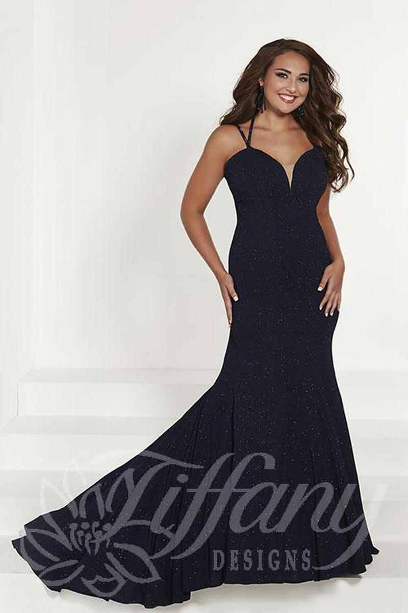 TIFFANY DESIGNS(HOUSE OF WU) - Sparkle Jersey Gown Sweetheart Neckline