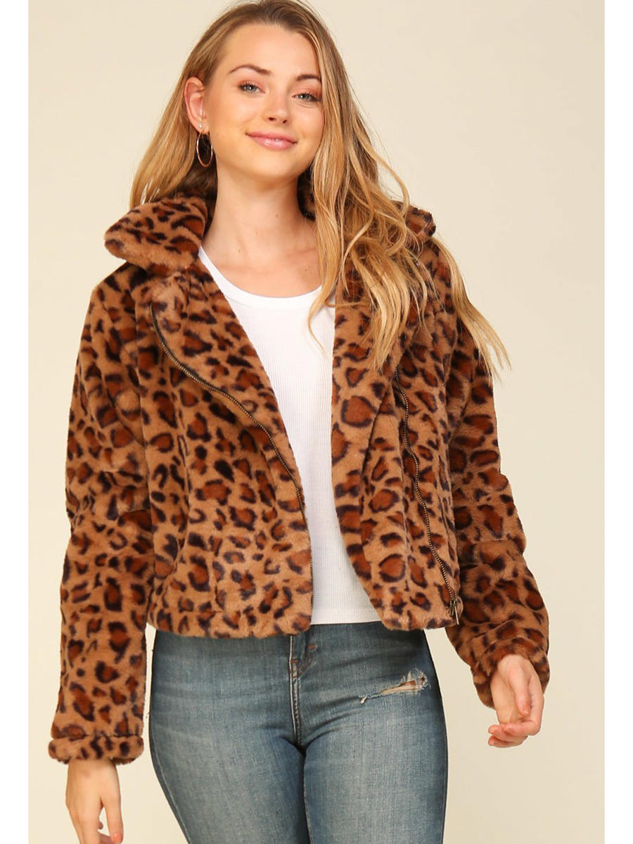The Timing Inc - Long Sleeve Leopard Ful Jacket