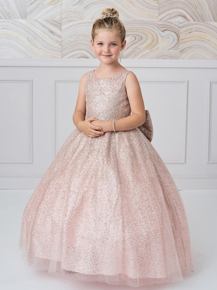 TIP TOP childrens - Metallic Crack Ice BallGown Bow Tie Back