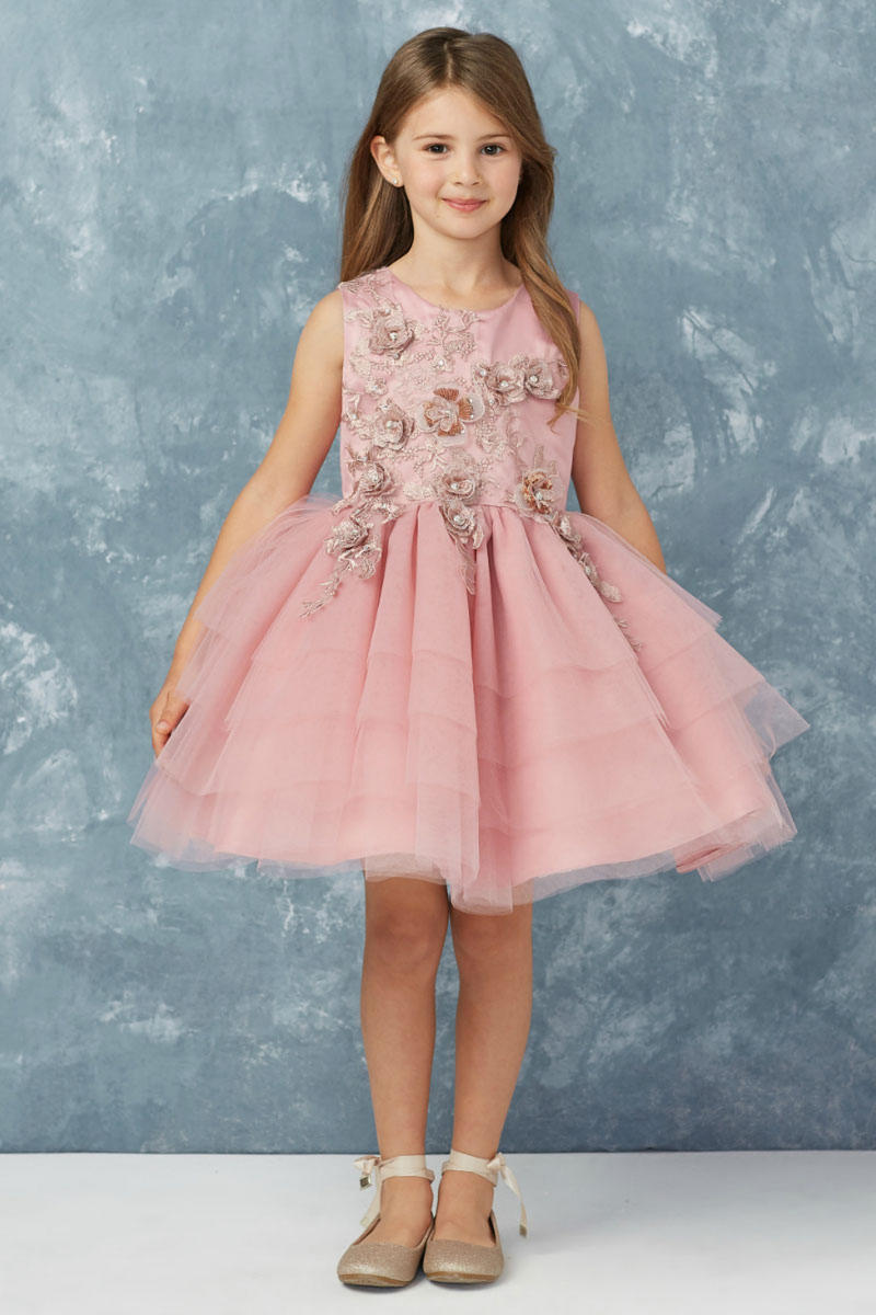 TIP TOP childrens - Mesh Dress Embroidered Bodice