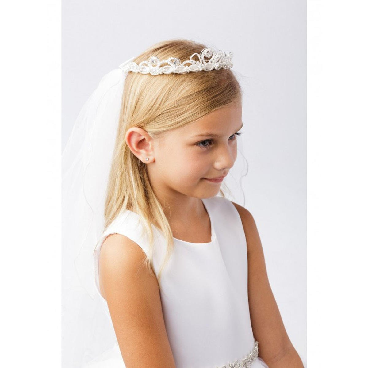 TIP TOP childrens - Pearl and Rhinestone Crown with Veil
