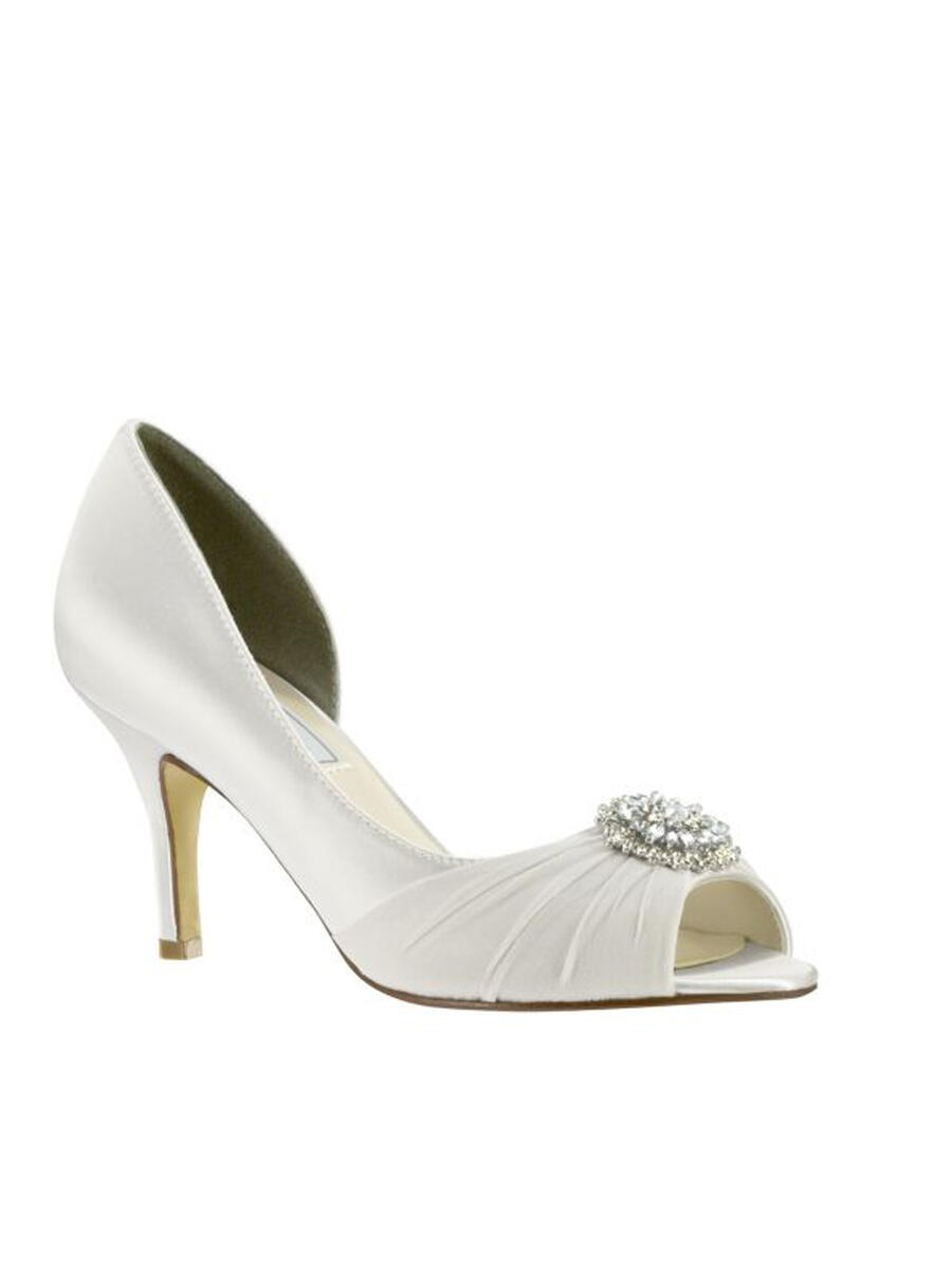 Touch Ups and Dyables - Pleated Satin Mid-Heel Peep-Toe Pump