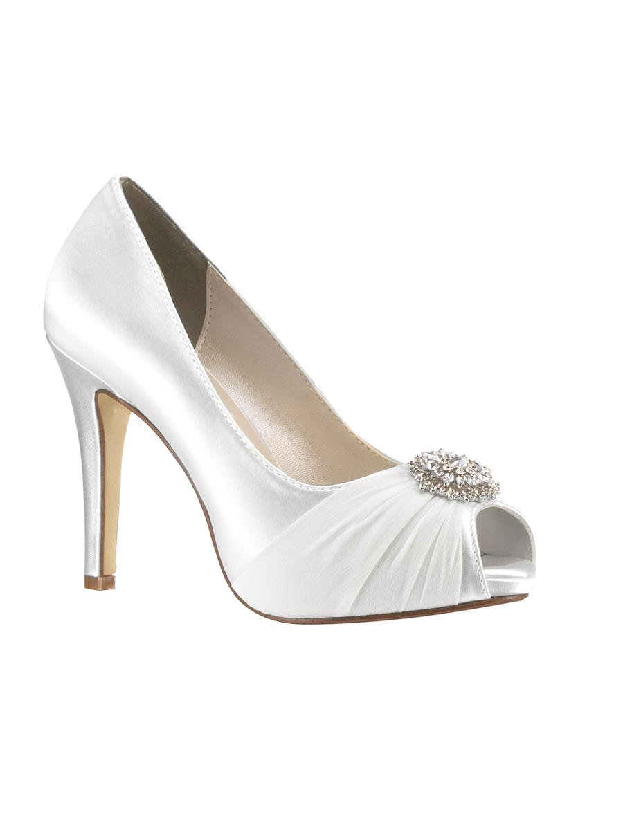 Touch Ups and Dyables - Pleated Satin Platform Peep-Toe Pump