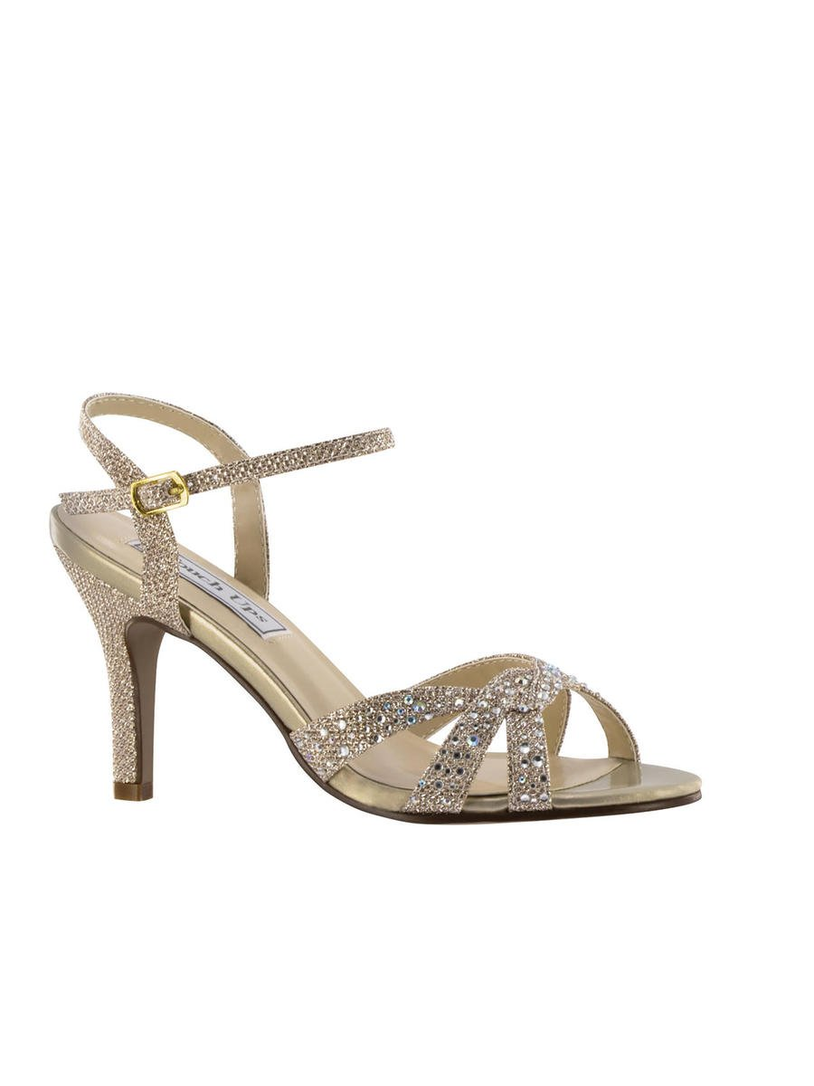 Touch Ups and Dyables - Embellished Mid-Heel Ankle Strap Sandal