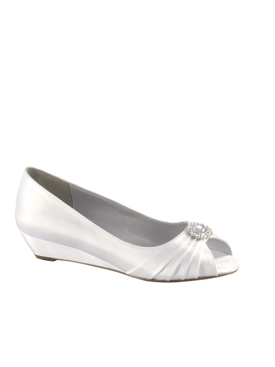 Low Satin Open Toe Wedge