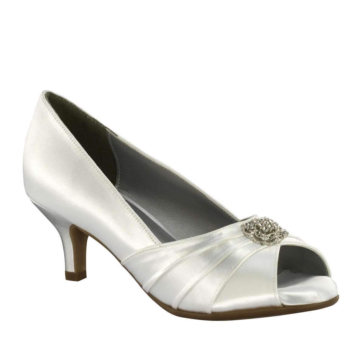 Pleated Metallic Low-Heel Open Toe