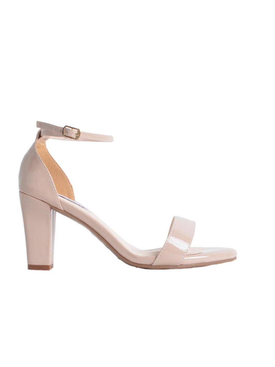 Touch Ups and Dyables - Pleather Square-Heel Ankle Strap Sandal