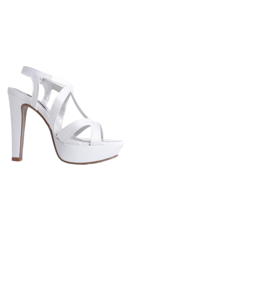 High Heel White Crepe Strappy Platfom
