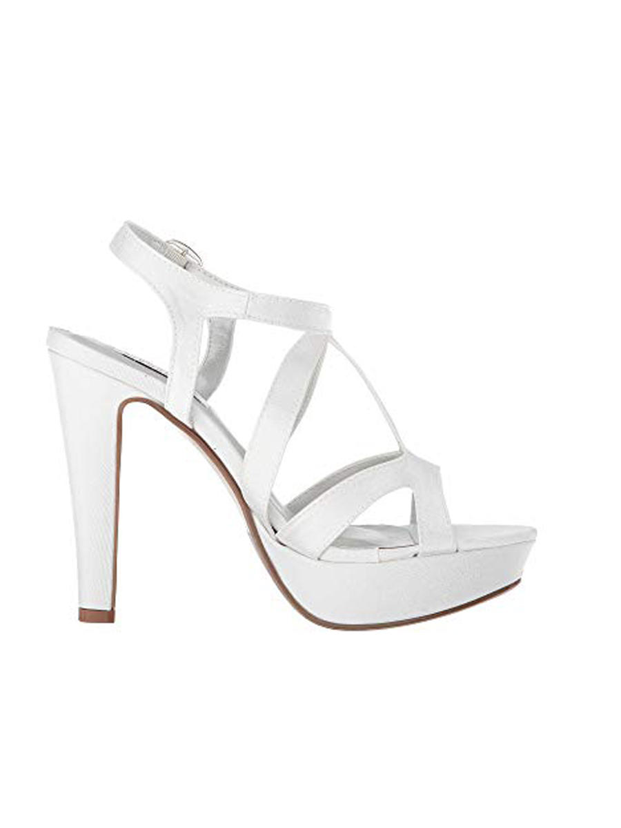 Touch Ups and Dyables - Strappy High Peep-Toe Platfom Shoe