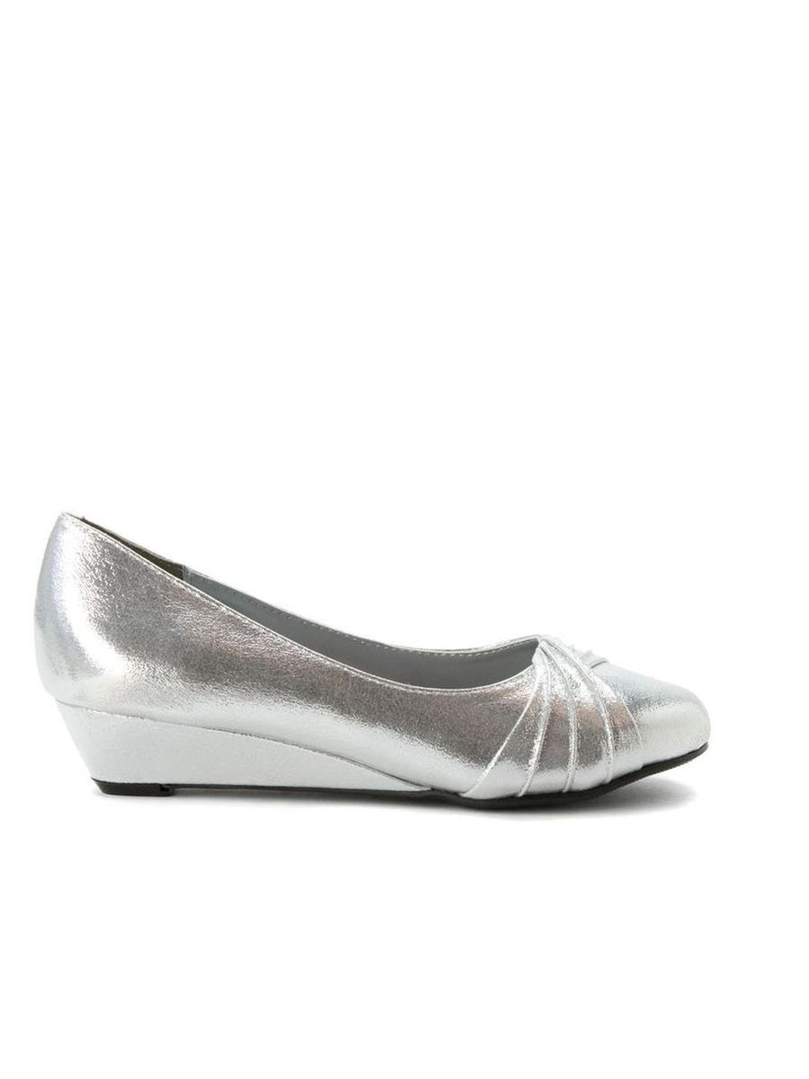 Touch Ups and Dyables - Pleated Metallic Low Wedge