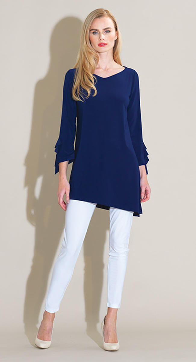 Solid Ruffle Cut Tunic