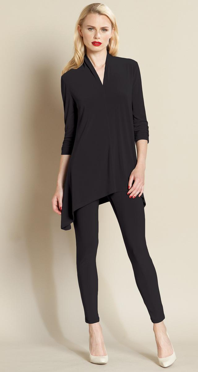 Deep V Tunic With Ruched Sleeves