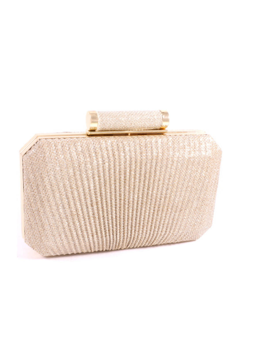 UR ETERNITY BAGS - Pleated Lurex Snap Lock Clutch