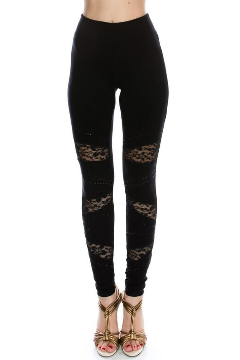 Vocal Apparel - Lace Contrast Leggings With Stones