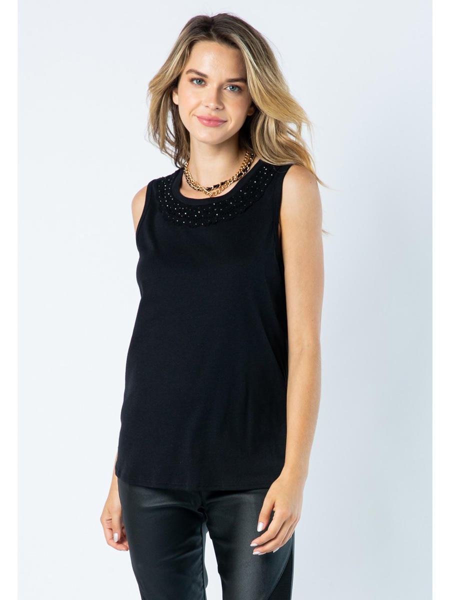Vocal Apparel - Tank Top-Beaded Lace Neck