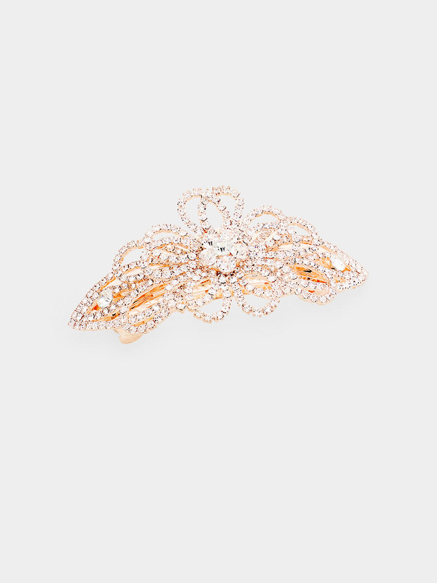 WONA TRADING INC - Bow Crystal Round Floral Rhinestone Pave Barrette