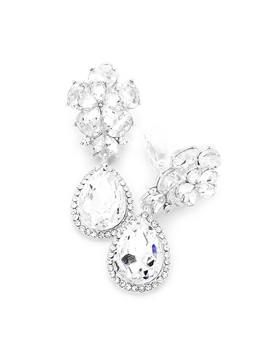 WONA TRADING INC - Rhinestone Flower Clip On Earring