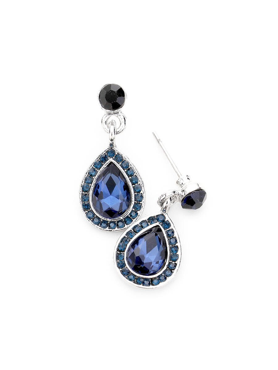 WONA TRADING INC - Crystal Teardrop Dangle Evening Earrings