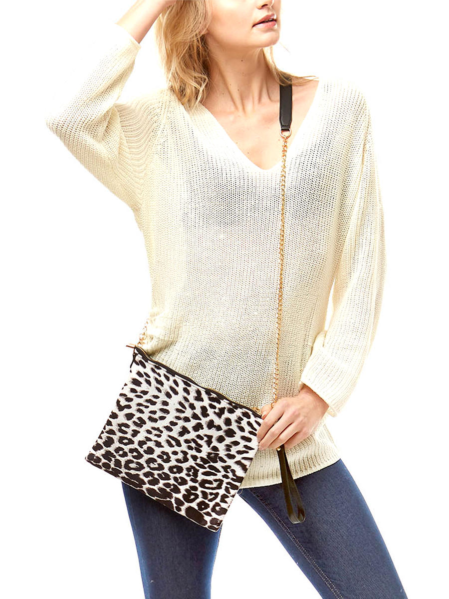 WONA TRADING INC - Animal Print Crossbody Bag / Clutch