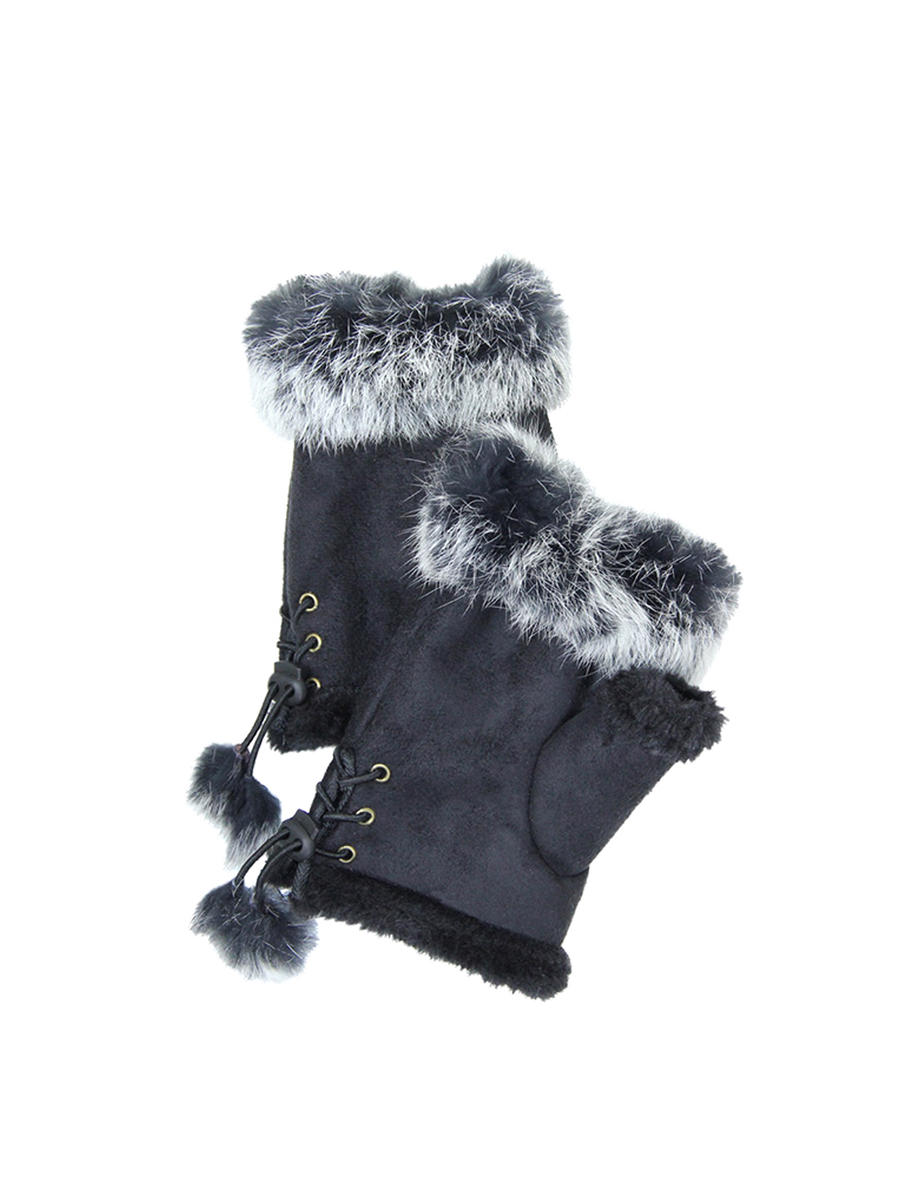 WONA TRADING INC - Fingerless Faux Fur Trim Gloves