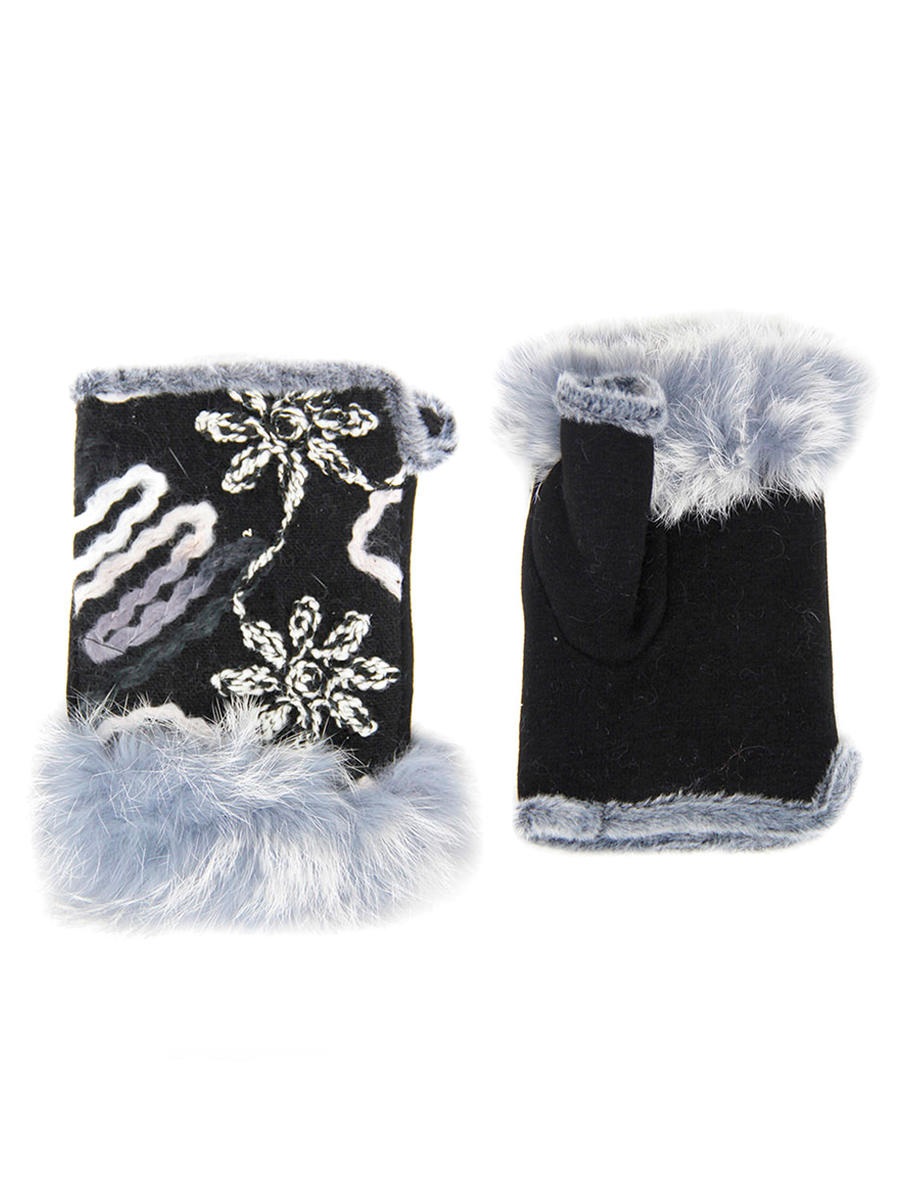 WONA TRADING INC - Flower Embroidery Fingerless Fur Gloves