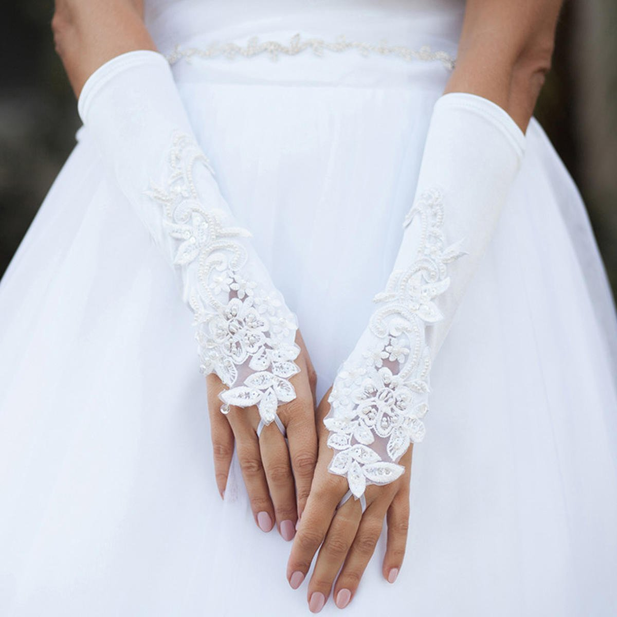 WONA TRADING INC - Lace Flower Satin Fingerless Wedding Glove