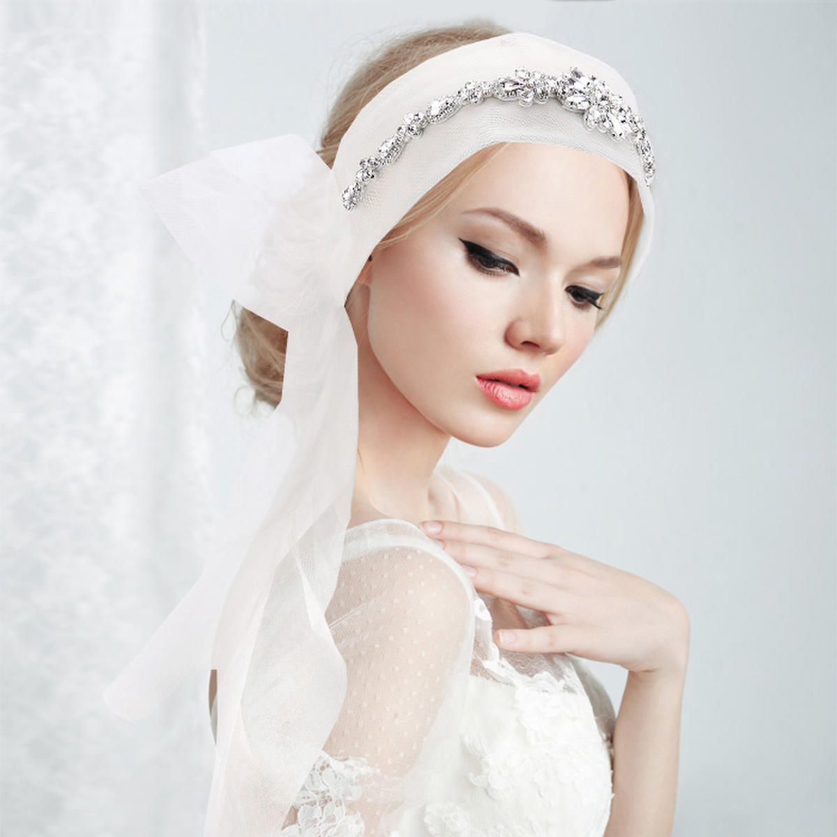 WONA TRADING INC - Crystal Embellished Bridal WEdding Mesh Headband