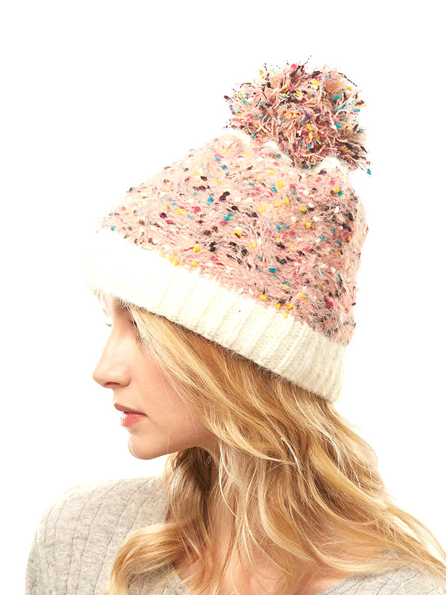 WONA TRADING INC - Multi Color Sprinkles Pom Pom Beanie Hat