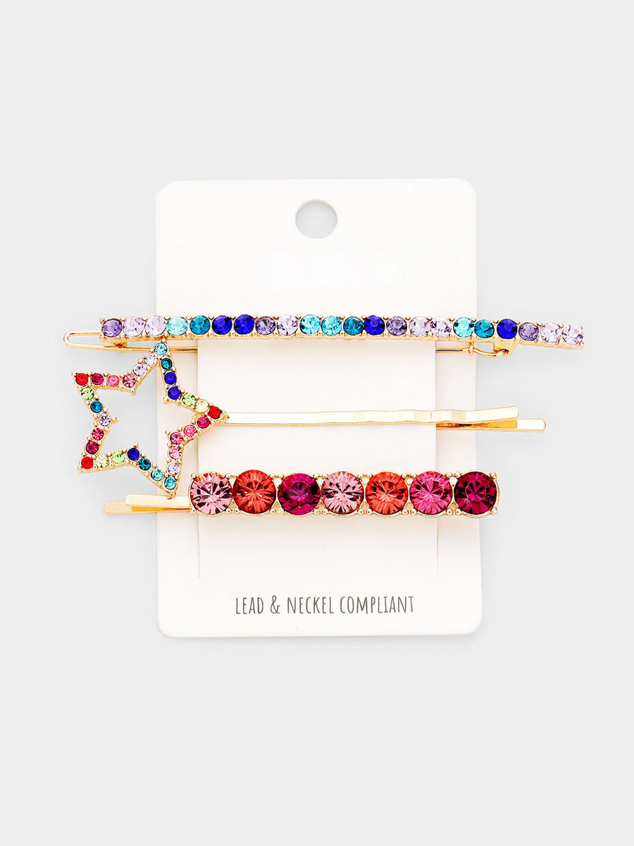 WONA TRADING INC - 3PCS - Colorful Stone Star Hair Bobby Pin