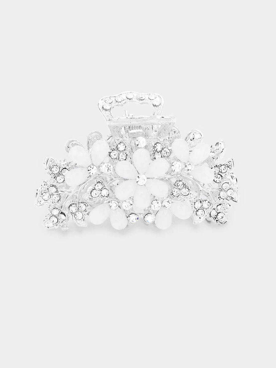WONA TRADING INC - Crystal Teardrop Embellished Floral Claw Clip