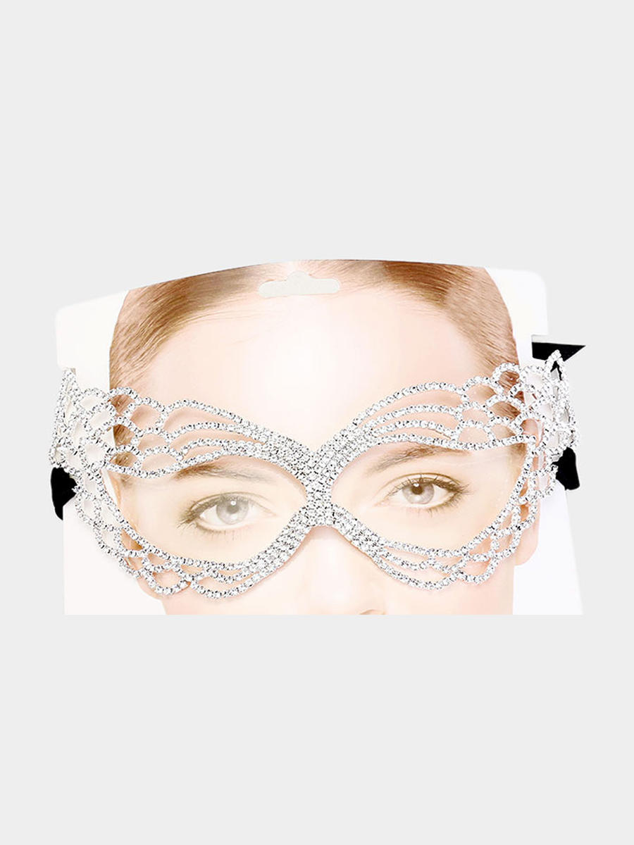 WONA TRADING INC - Crystal Rhinestone Pave Cat Eyes Marquise Mask