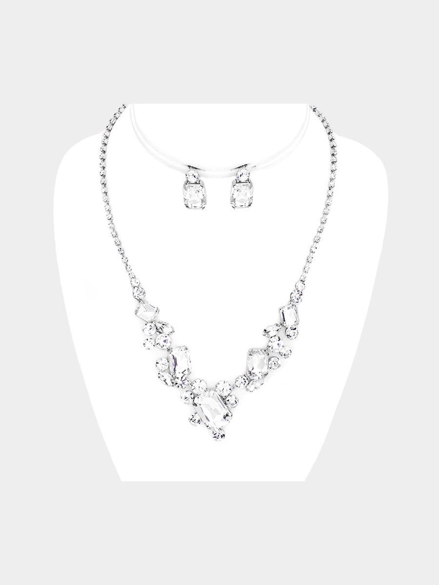 WONA TRADING INC - Faceted Crystal Cluster Rhinestone Pave Necklace