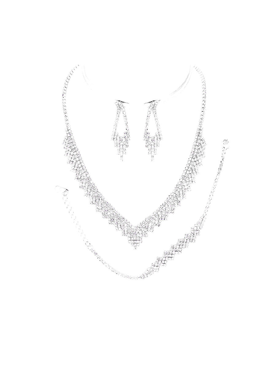 WONA TRADING INC - Rhinestone Drop Earring Necklace And Bracelet RN18317