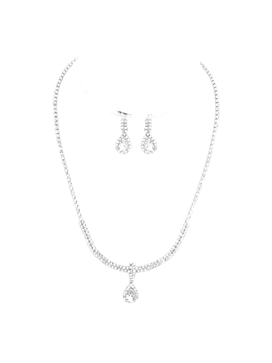 WONA TRADING INC - Rhinestone Drop Earring And Necklace Set RN72-20227