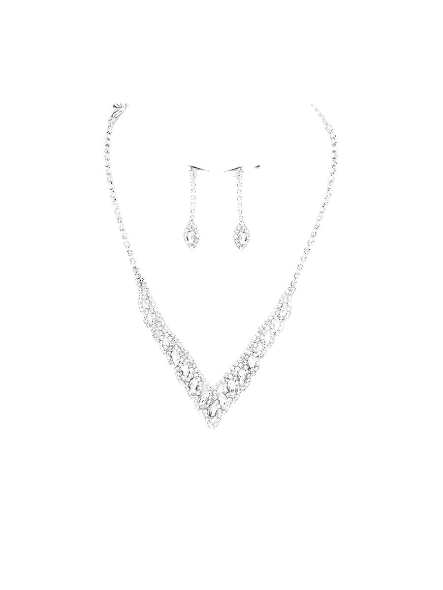 WONA TRADING INC - Rhinestoen Earring And Necklace  Set RN72-20323