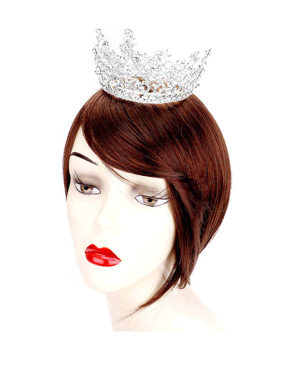 WONA TRADING INC - Round Stone Detail Princess Crown Tiara