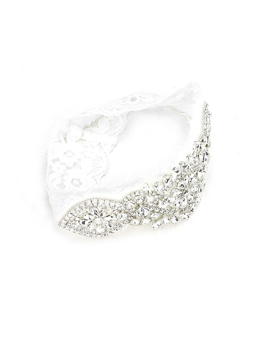 WONA TRADING INC - Crystal Pave Flower Lace Stretch Wedding Garter