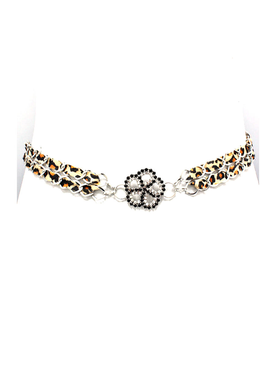 WONA TRADING INC - Crystal Flower Centered Leopard Belt