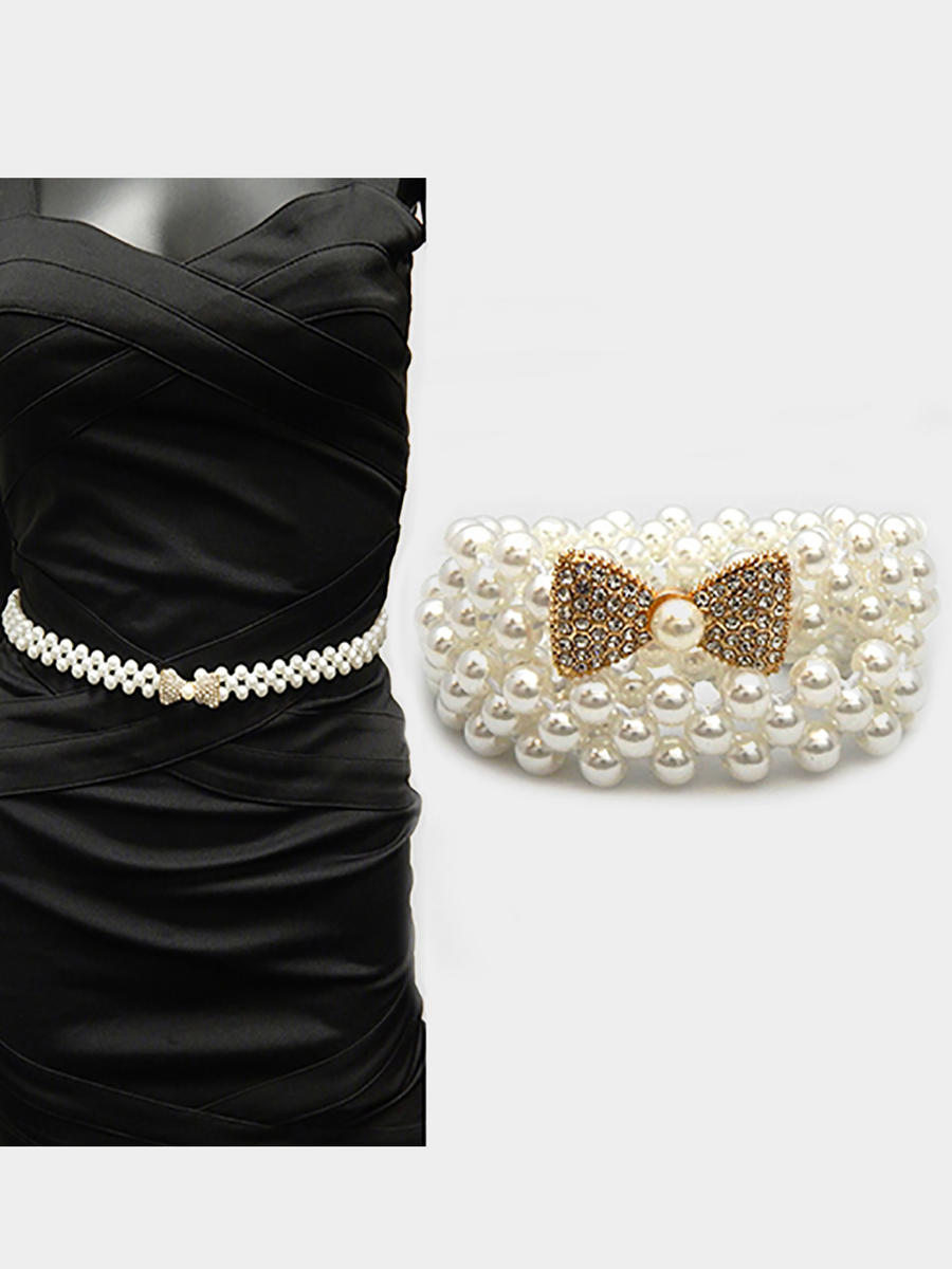 WONA TRADING INC - Pearl Rhinestone pave Bow Embellished Stretch Belt