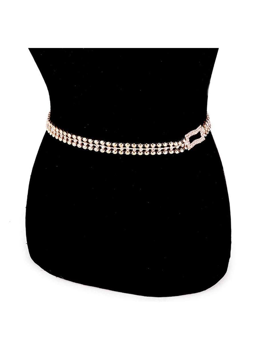 WONA TRADING INC - Crystal Rhinestone Rectangle Accented Chain Belt