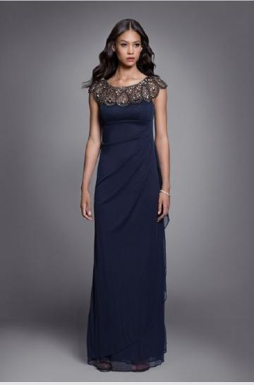 Beaded Draped Chiffon Gown