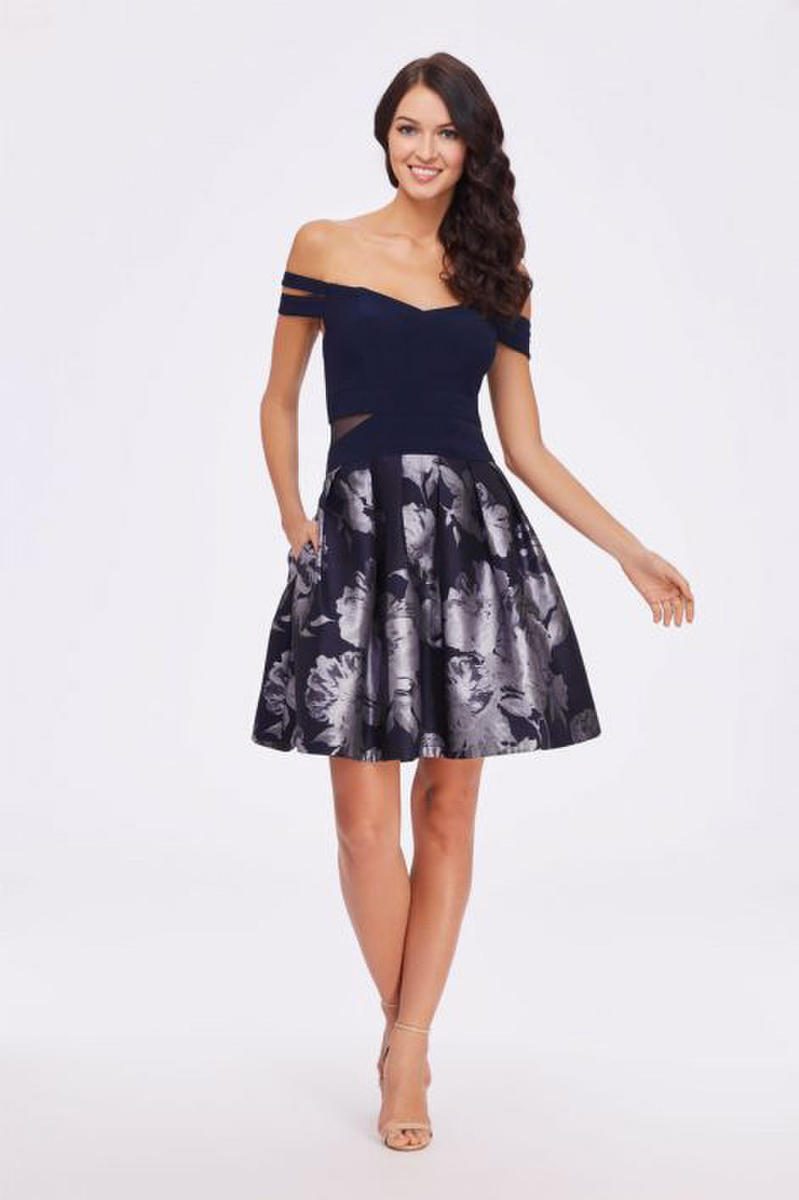 Satin Print Dress Jersey Off The Shoulder