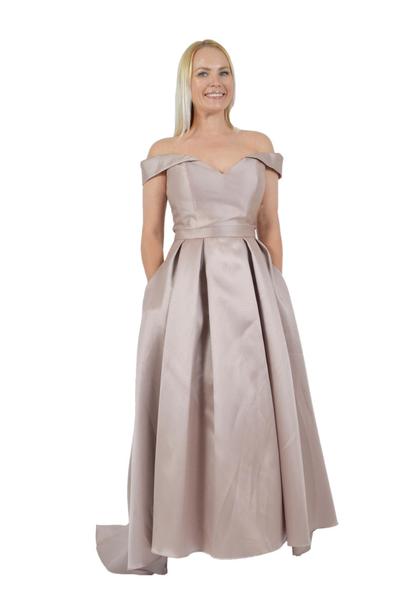 Satin High Low Gown Off The Shoulder