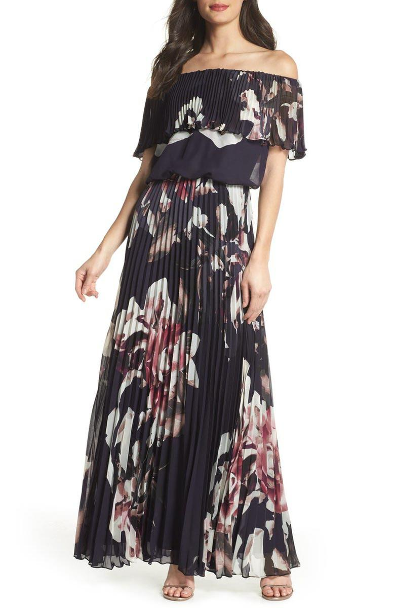 Chiffon Pleaded Gown Off Shoulder