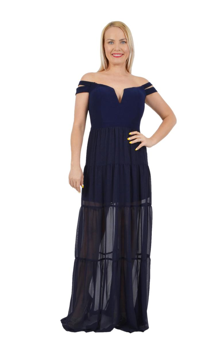 Chiffon Double Strap Off Shoulder Maxi