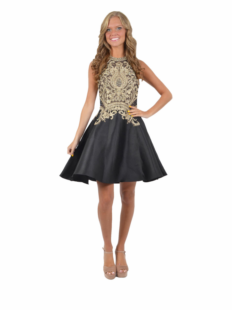 Satin Dress Metallic Embroidered Bodice